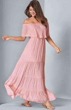 This pretty Pink Off the Shoulder Maxi dress is pulled straight from a dreamscape. Flowy styling is the key to this stunningly graceful look, with a gentle off-the-shoulder overlay and swingy, tiered skirt. Available in Plus Size Maxi Dress  ( sizes 14 – 24). | Pink Maxi Dress | Plus Size Pink Maxi Dress | Off the Shoulder Maxi Dress | Vacay Dress | Summer Outfit Casual Dresses For Women, Dresses For Work, Woman Dresses, Cruise Dress, Cruise Outfits, Dress Summer, Summer Outfit, Brunch Dress, Resort Dresses