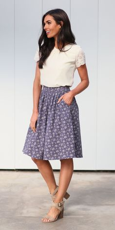 This is a beautiful gathered steel blue skirt with a pretty cream floral pattern that pairs perfectly with our white flower petal top. Material: Cotton Care: Wash Inside Out, Wash Cold Gentle, No Chlorine, Iron at Low Hea Modest Dresses, Modest Outfits, Modest Fashion, Cute Outfits, Fashion Outfits, Work Outfits, Work Dresses, Shift Dresses, Modest Clothing