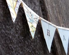 Personalized Mini Pennant Banner from Vintage Maps by Palimpsestic