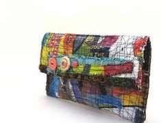 One of a Kind, Handmade Clutch Bag Boho Colorful Upcycled Art Accessory by ramona