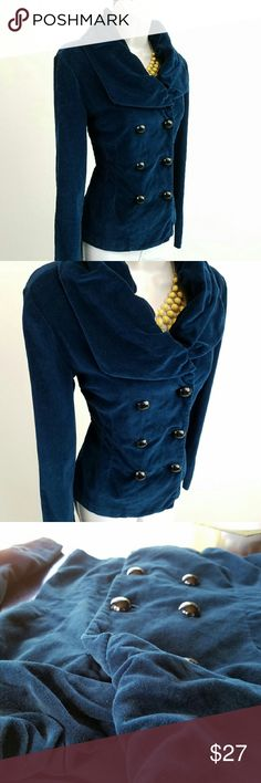 Ocean blue velvet jacket Long-sleeved velvet jacket in deep ocean blue; features a shawl collar and double row of buttons.  Gorgeous when the light hits that material!  Bust 17.5 / waist 16 / length 22 inches.  100% cotton.   Thanks for visiting my closet; come back soon & see what's new! I  add listings every week! Kensie Girl Jackets & Coats