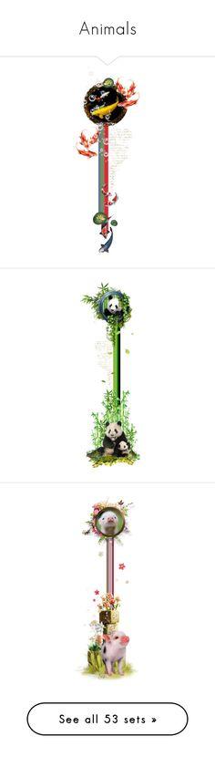 """Animals"" by girlinthebigbox ❤ liked on Polyvore featuring nature, animals, art, fish, carp, KoiCarp, panda, animal, bears and bamboo"