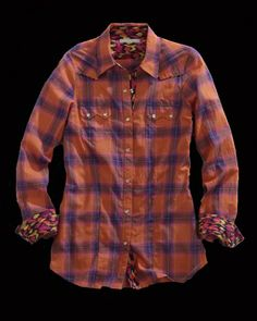 Tin Haul® Women's Orange Paintbrush Plaid Long Sleeve Snap Cowgirl Shirt