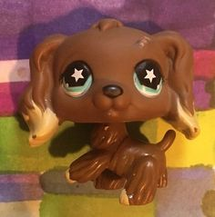 Littlest Pet Shop LPS Cocker Spaniel 960 Brown w Blue Star Eyes Dipped Ears | eBay