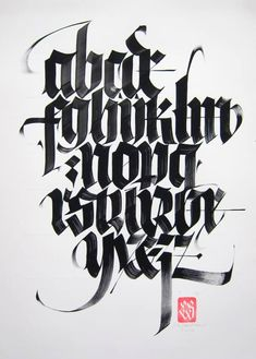 Creative Lettering, Black, Letter, and Alphabet image ideas & inspiration on Designspiration Gothic Lettering, Types Of Lettering, Lettering Styles, Lettering Design, Calligraphy Types, Calligraphy Artist, Calligraphy For Beginners, Calligraphy Writing, Gothic Fonts