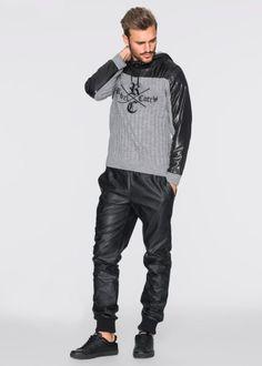 Пуловер Slim Fit с капюшоном, RAINBOW, серый меланж