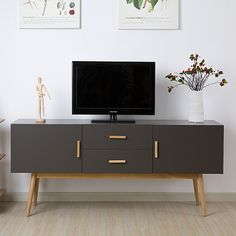Online Shop Modern minimalist dark wood coffee table, TV cabinet white section of the Nordic creative living room TV cabinet IKEA furniture Tv Cabinet Ikea, Living Room Tv Cabinet, Home Living Room, Apartment Living, Small Tv Cabinet, Kitchen Living, Ikea Furniture, White Furniture, Furniture Makeover