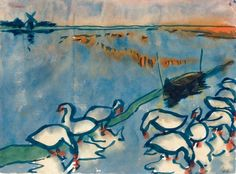"lonequixote: "" A Lake with Geese ~ Emil Nolde """