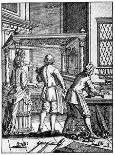 1690: The cabinetmaker's shop from Elias Pozelius, Orbus Pictus nach Zeichnugen der Susanna Maria Sandrart, Nürnberg, 1690.