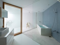 house in saka, hiroshima, by suppose design office - corner bathroom