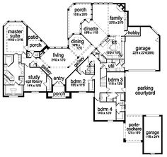 Entry, master shower, kitchen, carport       - Immaculate Interior Design (HWBDO63599) | Tudor House Plan from BuilderHousePlans.com