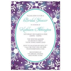 Purple, turquoise snowflake winter wedding invitation