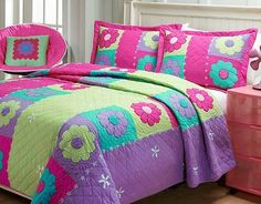 Hand-stitched Groovy Girl Quilt Set - Overstock™ Shopping - Great Deals on Kids' Bedding Bed Sets, Girls Quilts, Baby Quilts, Bright Color Schemes, Cute Quilts, Buy Bed, Applique Quilts, Quilt Sets, Bed Covers