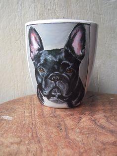 Frenchie ;-) Hand Painted Mugs, French Bulldog, Dogs, Animals, Animales, Animaux, French Bulldog Shedding, Pet Dogs, Bulldog Frances