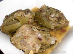 Alcachofas guisadas con jamón