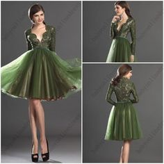 Online Shop Free shipping Newest Elegant Green Tulle Short evening dresses 2013 with long lace sleeves party/Prom dresses Custom made|Aliexpress Mobile
