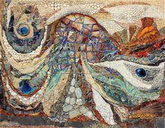 ilana shafir - mosaics.  Ilana is a living mosaic legend, she creates her own ceramic elements for her free flowing mosaics. http://www.shafirart.com