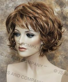 Classy and chic Everyday wig Multiple layers Auburn Blonde mix wavy flip ends lo