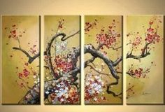 Amazon.com - 4 Piece Canvas Art Modern Art 100% Hand Painted Oil Painting on Canvas Wall Art Deco Home Decoration (Unstretch No Frame) -