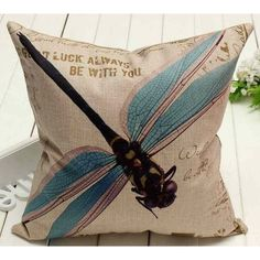 Blue Dragonfly Throw Pillow Cover