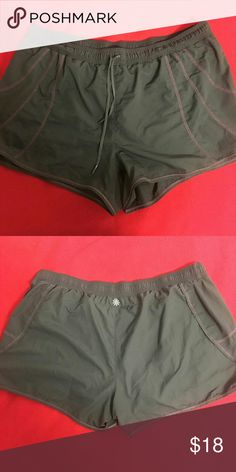 Workout shorts Gray workout shorts around run and swim with small zipper pocket on and back. Athleta Shorts