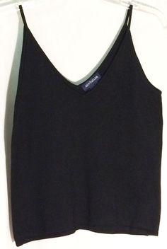 ANN TAYLOR 85% Silk Black Double V Knit Top - Straps - Size Small - S #AnnTaylor #KnitTop #ann #taylor #top #black #silk #sweater #straps #small #s
