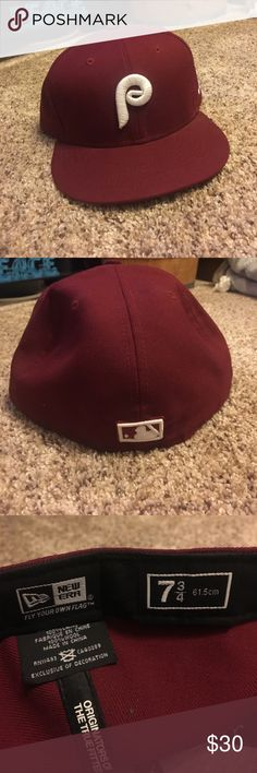 Phillies Throwback Hat Dark red 80s Phillies Throwback hat. Like new! New Era Accessories Hats