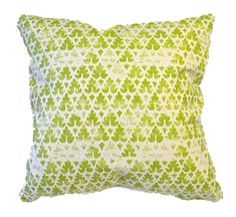 "Dimensions: 22"" x 22"" We love the look of the antique block print on this hand-printed Quadrille fabric pillow. It has a warm, broken-in look to it that adds wa"