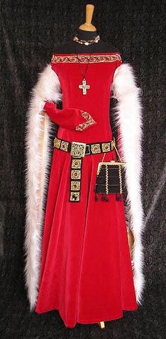 lady's dress of velvet, fur tippets lined by gold satin (pair with men's dress). It is based on picture of Viollet le Duc (Encyclopedie medievale).   Late 14th century.