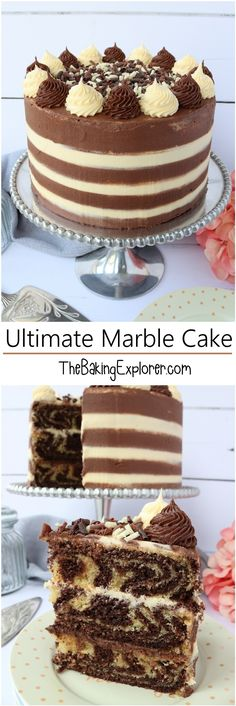 Ultimate Marble Cake - chocolate and vanilla swirled cake with striped buttercream