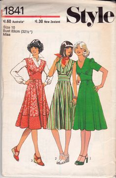 """Style 1841; ©1977; Misses' Dress: Dress features widened """"V"""" shaped neckline, and fastens at back with zipper. The bodice, gathered at front, and the flared skirt, gathered at front and back, are inserted into shaped midriff set above normal waistline. View 1 has short sleeves gathered into the armholes. View 2 and 3 have set-in """"cap"""" sleeves. View 3 midriff, sleeves and lower skirt are cut in contrasting fabric. Add a photo to the gallery by clicking the """"modify"""" button below."""