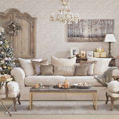 Gold Christmas living room   Living room decorating   Ideal Home   http://Housetohome.co.uk