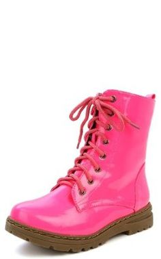 Gwen 01 HI Womens Patent Milatary Lace Up Combat Boots PINK 6.5 Nature Breeze. $25.99