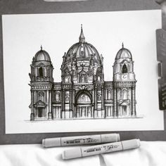 [Work in progress] Current status of Berlin Cathedral sketch in fineliner and marker. A tower, shadows and some microdetails left Cathedral Tattoo, Monochromatic Art, Notre Dame, Taj Mahal, Berlin, Tower, Building, Instagram Posts, Travel