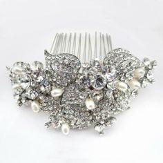 Elegance Collection - Antique Silver Tone & Freshwater Pearl Comb Elegant Bridal Designs