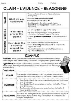 Introduction to CER: Claim Reasoning Evidence Scientific Argument Lesson Example education Introduction to CER: Claim Evidence Reasoning Scientific Argument Lesson Example Science Resources, Science Lessons, Science Activities, Chemistry Lessons, Science Worksheets, School Worksheets, Science Ideas, Science Experiments, Science Classroom