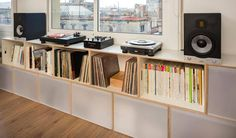 Media Storage: A fan of vinyl? BrickBox is your solution :) Modular Storage, Low Cabinet, Storage Design, Modular Shelving, Media Storage, Modern Storage Furniture, Space Design, Vinyl Storage, Audio Room