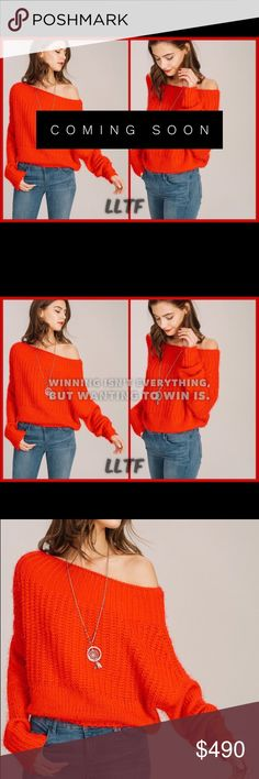 """Off The Shoulder Crop Sweater- RED Off the shoulder sweater  100% Acrylic   Model size: 5""""9 wearing a small  Length: 17.5 from center to bottom hem (small) Sweaters"""