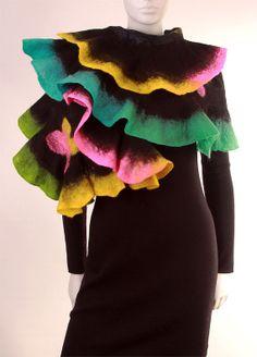 Felted scarf. Wool and silk. Felt. Nuno felting. Black. Rainbow