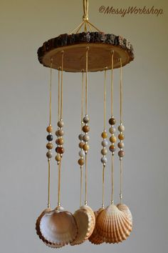 Vibrant and Earthy Handmade Chime with Cockle Shells Seashell Wind Chimes, Diy Wind Chimes, Seashell Art, Seashell Crafts, Beach Crafts, Seashell Projects, Diy Projects, Beaded Curtains, Sea Shells