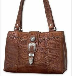 American West® Ladies Retro Romance Brown Tooled Leather Star Concho Shopper Handbag | Cavender's