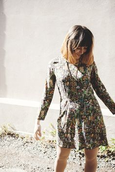 Samantha Pleet Galactic Dress in Floral. A pretty fall foliage scene decorates this sweet fit and flared dress from NYC's Samantha Pleet. Available now www.victoireboutique.com