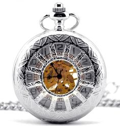Infinite U Silver Wheel/Windmill Shape Hollow Skeleton Steel Mechanical Pocket Watch -- Check this awesome image