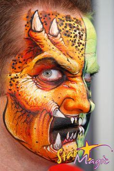 Wolfe Brothers - Reference for a Predator face painting Monster Face Painting, Face Painting For Boys, Face Painting Designs, Paint Designs, Zombie Face Paint, Monster Makeup, Boy Face, Maquillage Halloween, Animal Faces