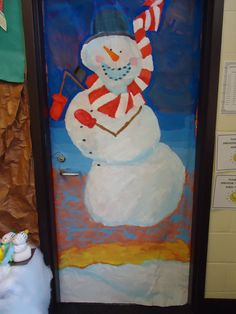 Snowmen at Night Door decoration that I painted