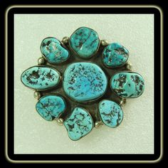 Sterling Silver Broach with Turquoise Nuggets