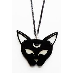 Moon Cat Pendant Necklace by Cherryloco ($23) ❤ liked on Polyvore featuring jewelry, necklaces, cat necklace, pendants & necklaces, cat pendant necklace and cat jewelry
