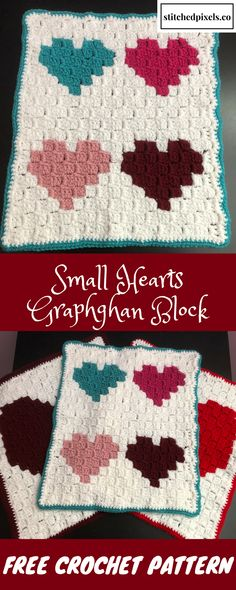 This chart can be used to make a simple, colorful heart afghan block. You can make several of them in the same or different colors and assemble them to make a blanket any size you like.