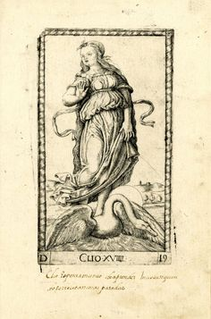 WL female figure, her head turned to l; standing on a swan, holding her dress with her l hand; after the so-called Tarocchi Cards of Mantegna.  Engraving