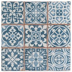 It is easy to picture sun-drenched streets of Spain when looking at the Merola Tile Faenza Azul 13 in. Ceramic Floor and Wall Tile. Save time and labor spent arranging smaller square tiles and Tiles Uk, Blue Tiles, Wall Tiles, White Tiles, Blue Bathroom Tiles, Cement Tiles, Vinyl Tiles, Tile Art, Victorian Tiles